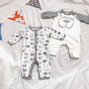 Gray & White Gap Rompers With Bear Face / Pattern